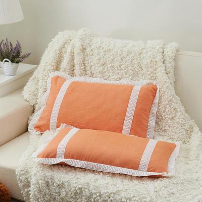 牛奶蕾丝花边枕(30*50cm) 橙色