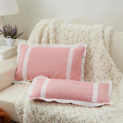 牛奶蕾丝花边枕(30*50cm) 粉玉