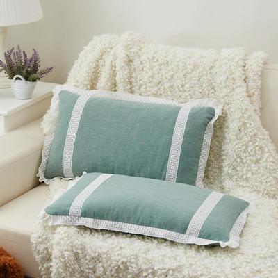 牛奶蕾丝花边枕(30*50cm) 灰绿