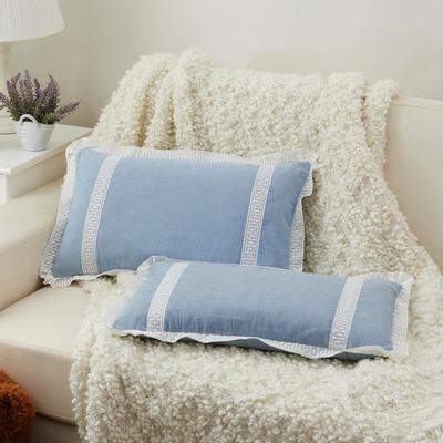 牛奶蕾丝花边枕(30*50cm) 浅蓝