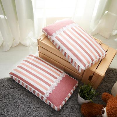 休闲条纹枕(30*50 cm高5公分) 红桔条