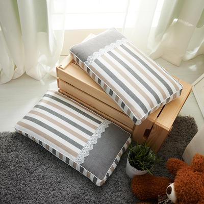 休闲条纹枕(30*50 cm高5公分) 灰咖条