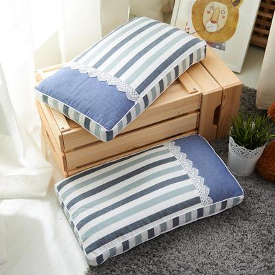 休闲条纹枕(30*50 cm高5公分) 蓝灰条
