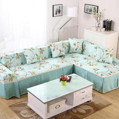 印花田园风沙发巾 45*45cm(同款抱枕套) 花间密语-蓝