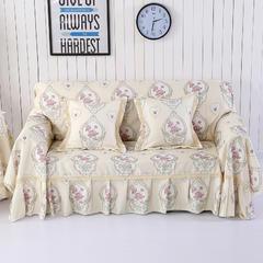 细麻印花沙发巾 抱枕套45*45cm 卡门-米色