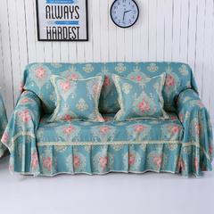 细麻印花沙发巾 抱枕套45*45cm 摩卡-蓝