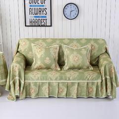 细麻印花沙发巾 45*45cm 摩卡-绿