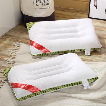 纯棉缎条决明子枕-绿色/灰色