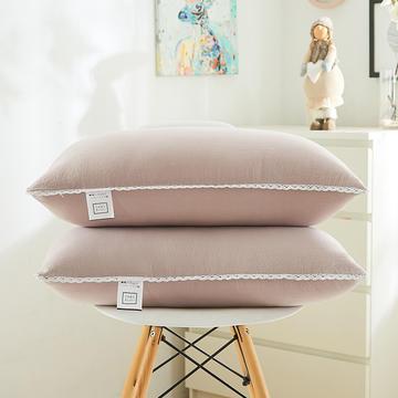 日式花边水洗枕(羽丝绒软枕)—西瓜红