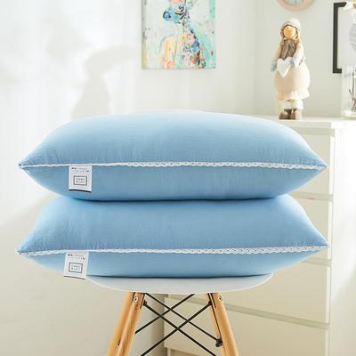 日式花边水洗枕(羽丝绒软枕)—西瓜红 蓝色