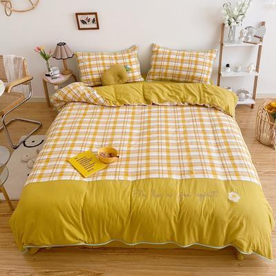 LS2020新款-韩国ins糖果撞色水洗棉系列四件套实拍2 1.2m床单款三件套 黄大格-荷包蛋