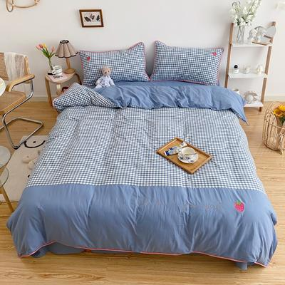LS2020新款-韩国ins糖果撞色水洗棉系列四件套实拍2 1.2m床单款三件套 蓝小格-草莓