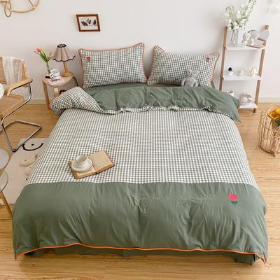 LS2020新款-韩国ins糖果撞色水洗棉系列四件套实拍2 1.2m床单款三件套 绿小格-小花