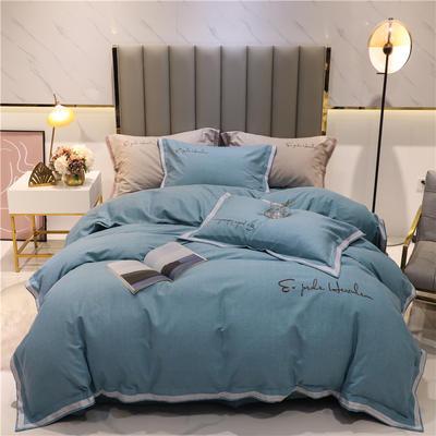 2020新款-全棉磨毛千鸟格系列四件套实拍图 1.5m床单款四件套 青空蓝