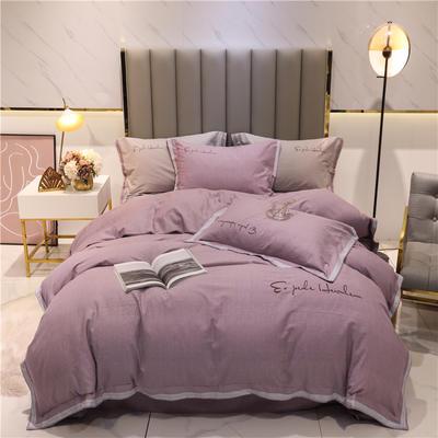 2020新款-全棉磨毛千鸟格系列四件套实拍图 1.5m床单款四件套 云雾紫