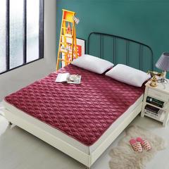 吉欧力法莱绒夹棉绗缝保暖床垫 1.2m 豆沙法莱绒