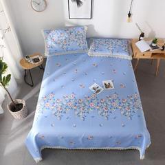 印花蕾丝床单款三件套 230*250cm 繁花点点-天蓝