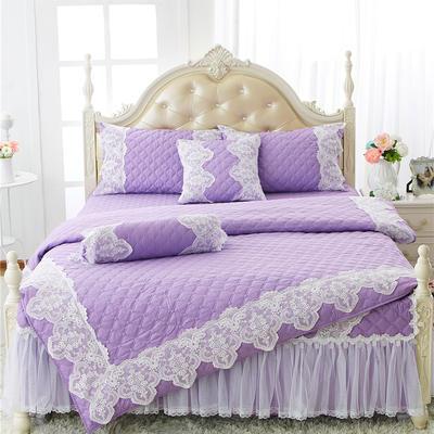 2017 新款高档全棉夹棉加厚四件套系列-花的嫁衣 1.2米三件套 紫色(不开叉款)