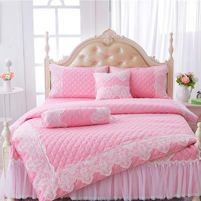 2017 新款高档全棉夹棉加厚四件套系列-花的嫁衣 1.2米三件套 粉色(开叉款)