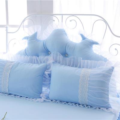 2017 新款花边一枕套 花边枕套 水晶之恋-天蓝