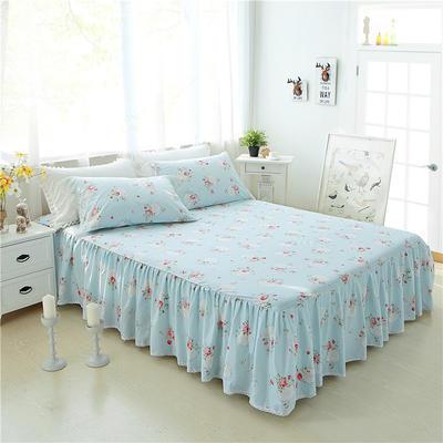 2017 新款单层床裙-欧美田园风系列 花边枕套(一对) 梦幻蓝