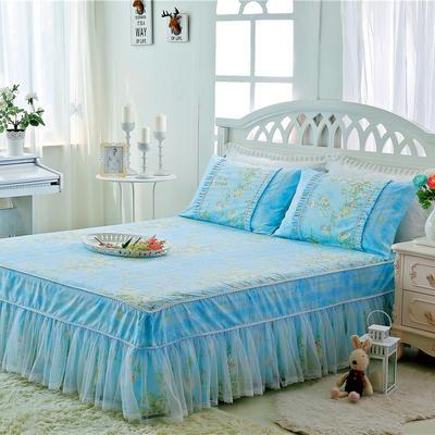 2017-花卉系列床裙 1.2米 雅典娜-蓝