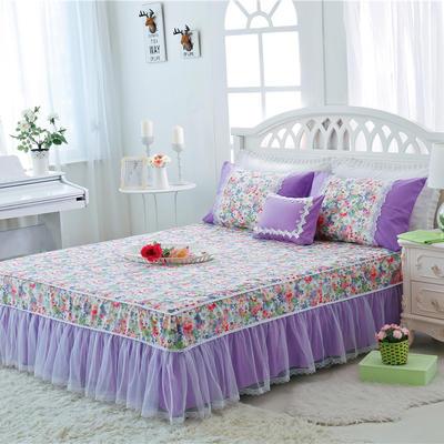 2017-花卉系列床裙 1.2米 伊甸园-紫