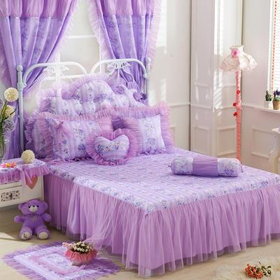 2017 新款蕾丝床裙 1.2米 风铃草紫