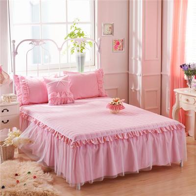 2017 全棉13372蕾丝-夹棉-床裙 1.5*2.0米 红粉佳人