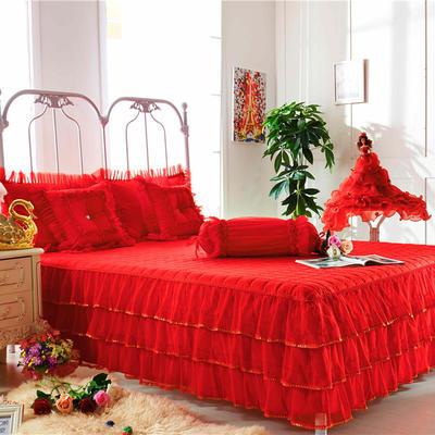 2017 全棉13372蕾丝-夹棉-床裙 1.5*2.0米 玫瑰花语