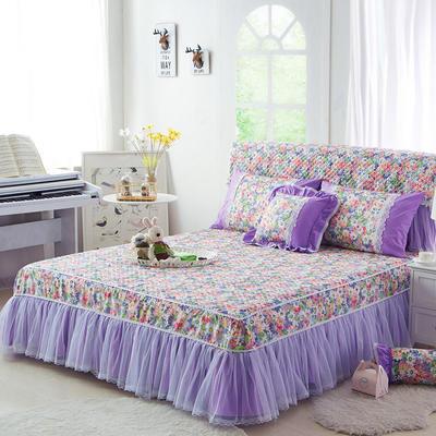 2017 全棉13372蕾丝-夹棉-床裙 1.2*2.0米 伊甸园-紫