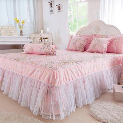 2017 全棉13372蕾丝-夹棉-床裙 1.2*2.0米 雅典娜-玉粉