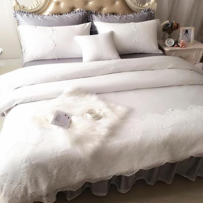 2017 新款60S贡缎长绒棉四件套实拍图 1.2米 灰白调