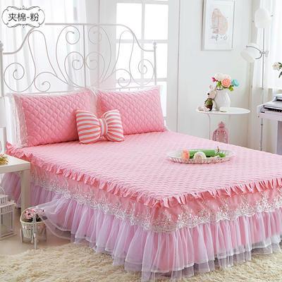 水晶之恋-加棉床裙 加棉枕套 夹棉-粉