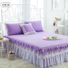 水晶之恋-加棉床裙 加棉枕套 夹棉-紫