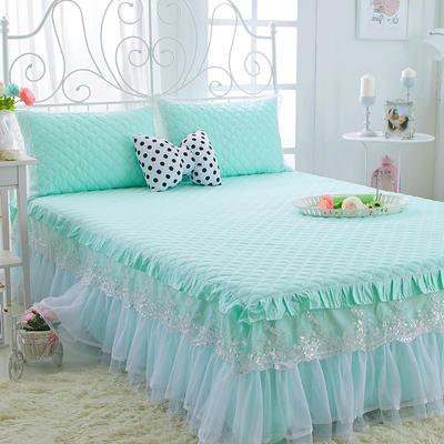 水晶之恋-加棉床裙 加棉枕套 夹棉-绿