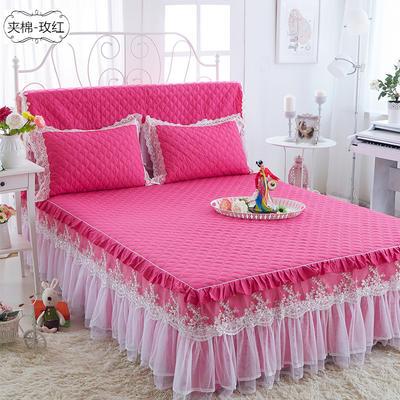 水晶之恋-加棉床裙 加棉枕套 玫红