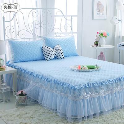 水晶之恋-加棉床裙 加棉枕套 夹棉-蓝