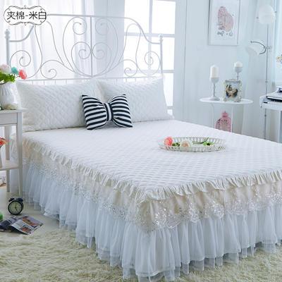 水晶之恋-加棉床裙 加棉枕套 夹棉-米白