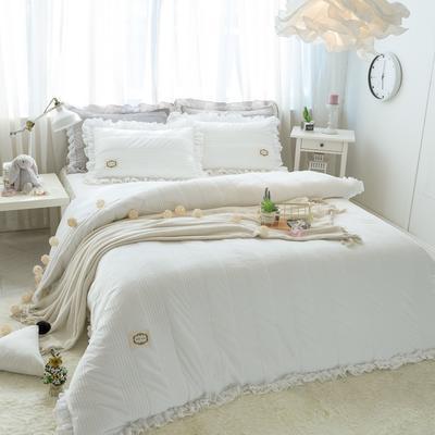 韩国绒四件套系列(浪漫满屋) 1.2m床三件套 白色