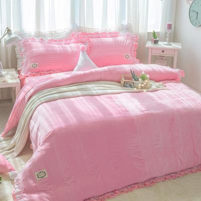 韩国绒四件套系列(浪漫满屋) 1.2m床三件套 粉色