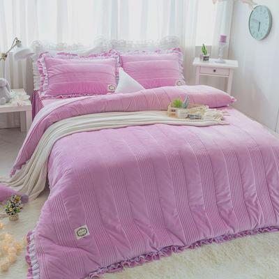 韩国绒四件套系列(浪漫满屋) 1.2m床三件套 浅紫