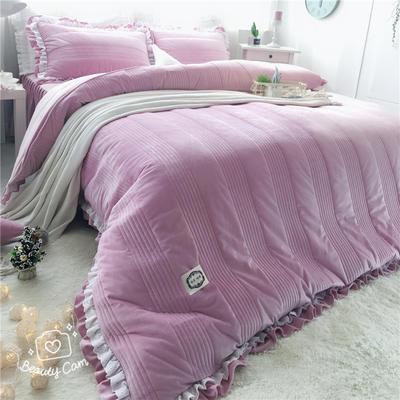 韩国绒四件套系列(浪漫满屋   手机实拍图) 1.2m床三件套 香芋紫色