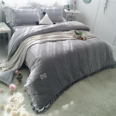 韩国绒四件套系列(浪漫满屋   手机实拍图) 1.2m床三件套 高级灰色