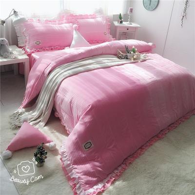 韩国绒四件套系列(浪漫满屋   手机实拍图) 1.2m床三件套 蜜桃粉色