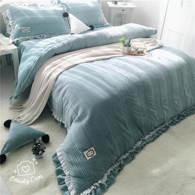 韩国绒四件套系列(浪漫满屋   手机实拍图) 1.2m床三件套 青蓝色
