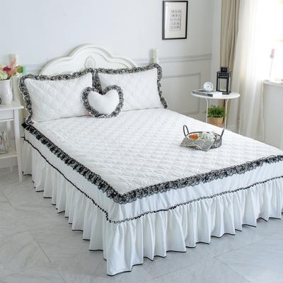 新品夹棉蕾丝床裙(罗马假日) 120cmx200cm 珍珠白