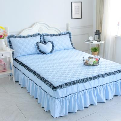 新品夹棉蕾丝床裙(罗马假日) 120cmx200cm 天蓝色