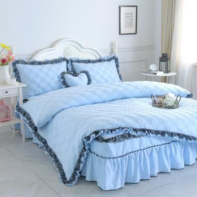 新品全夹棉保暖四件套(罗马假日) 1.2m床三件套 天空蓝