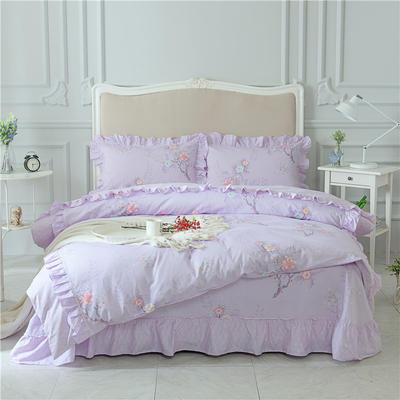 菊上家纺    全棉133*76花卉款四件套 标准1.5-1.8m床单款 紫韵